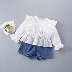 2-7 anos de alta qualidade primavera menina conjunto de roupas 2021 nova moda casual floral sólida camisa + jeans crianças criança meninas roupas