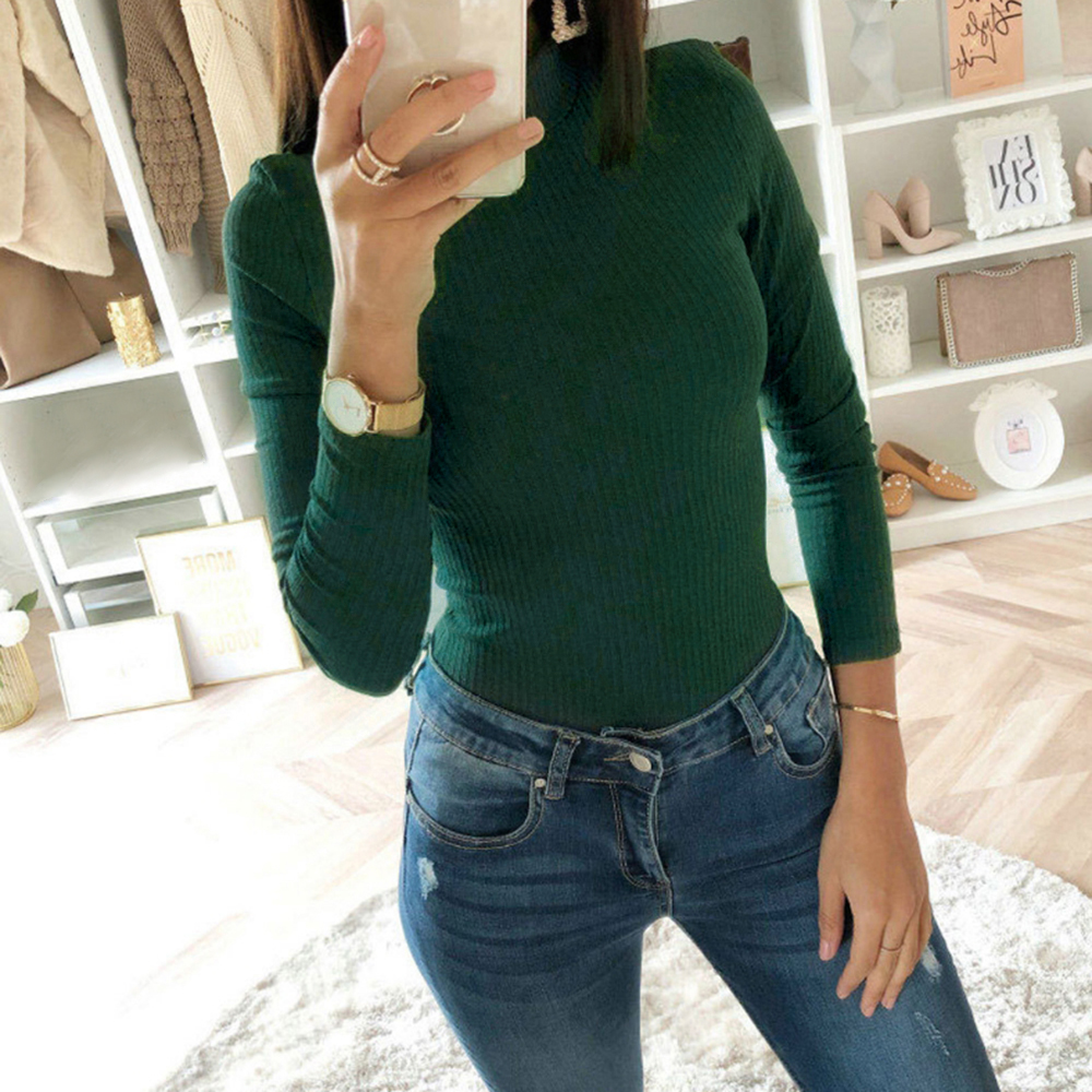 Plain Crotch Bodysuit Winter Knitted Jumper Solid Autumn Female Slim Fit 2020 Women Turtleneck Long Sleeve Stretchy Bodysuits