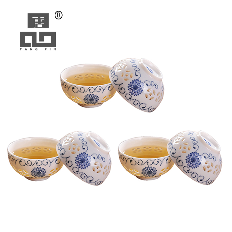TANGPIN 6pcs Ceramic Teacup Set Of 6 Cups Porcelain Cup Chinese Kung Fu Cup Drinkware