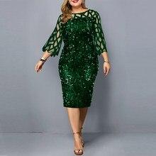 Bodycon vestido plus size lantejoulas verde vestido feminino sexy vestidos de festa de aniversário à noite casamento roupas de verão para mulher 2021