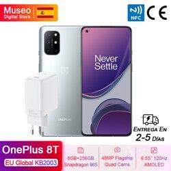 Смартфон OnePlus 8 T 8 T, глобальная Европейская версия, Snapdragon 865, 8 ГБ, 128 ГБ, 6,55 дюйма, 120 Гц, жидкий дисплей, четыре камеры 48 МП, 65 Вт, зарядка, NFC