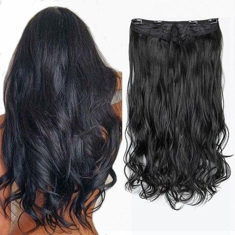 Extensões de Cabelo Lelinta V-shaped Parte Sintético Reta Encaracolado Onda Clipes no Hairpiece Uma u