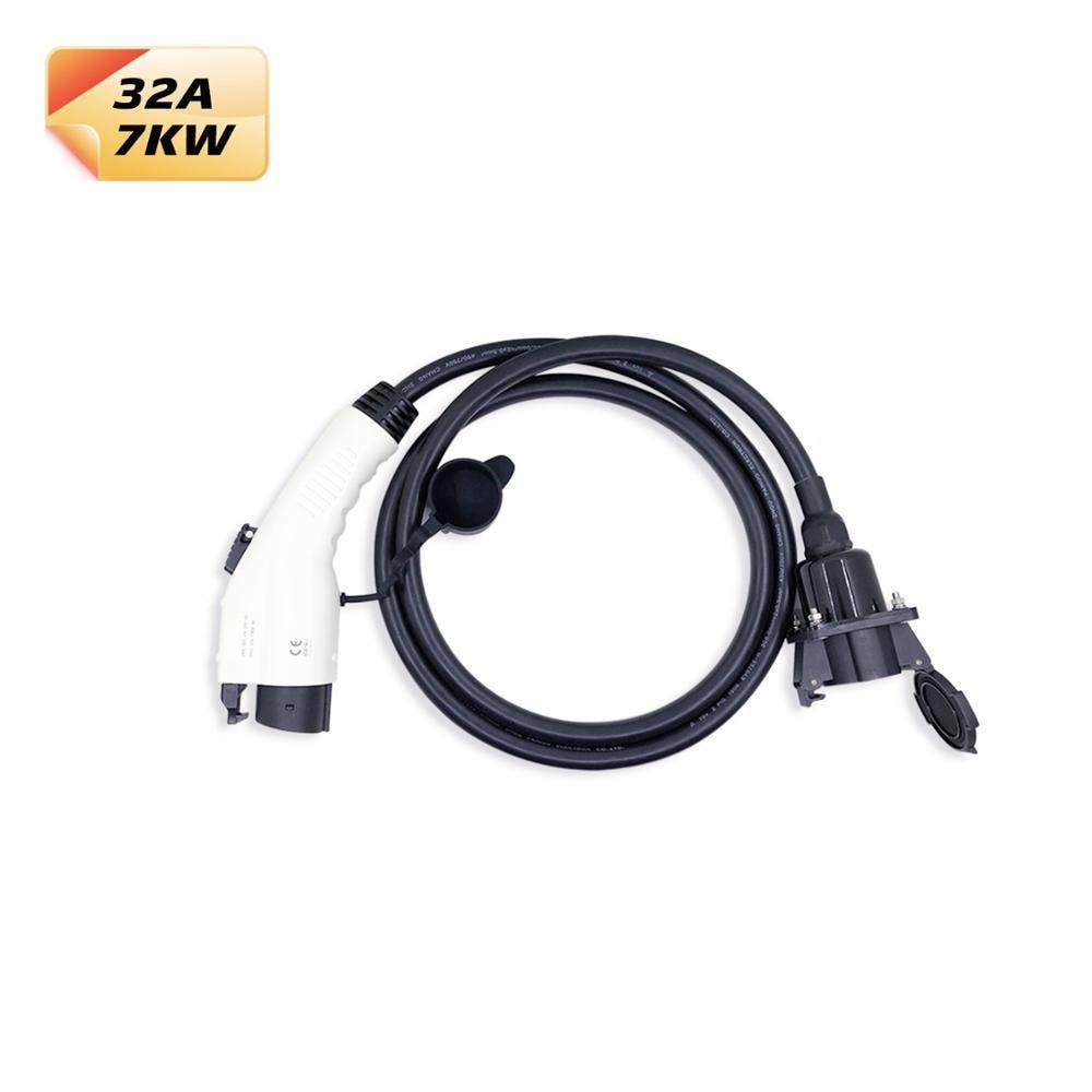 Duosida 32A Opladen Adapter Sae J1772 Type 1 Vrouwelijke Plug Naar Type 1 Mannelijke Socket Met 2 M Zwarte Kabel ev Oplader Connectors-in Batterij kabels & connectoren van Auto´s & Motoren op title=