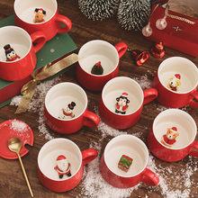 Taza navideña para café, leche, té de cerámica, muñeco de nieve, dibujos animados, 3D, Animal, regalo de Navidad, vasos de agua para el hogar y la Oficina