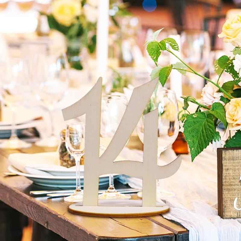 10pcs Wooden Table Number Ornaments One to Twenty Seat Cards Wedding Party Crafts Home Festival Decorative Accessories