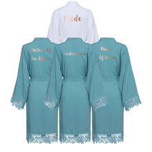 Solid Rayon Cotton Kimono Robes Lace Robe Women Wedding Bridal Robe Bathrobe Sleepwear Dusty Green
