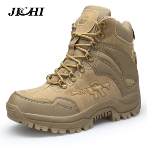 JICHI Men's Military boot Combat Mens Chukka Ankle Boot Tactical Big Size Army Boot Male Shoes Safety Motocycle Boots|Basic Boots| |  -