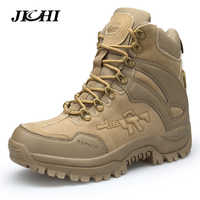 JICHI Men's Military boot Combat Mens Chukka Ankle Boot Tactical Big Size Army Boot Male Shoes Safety Motocycle Boots