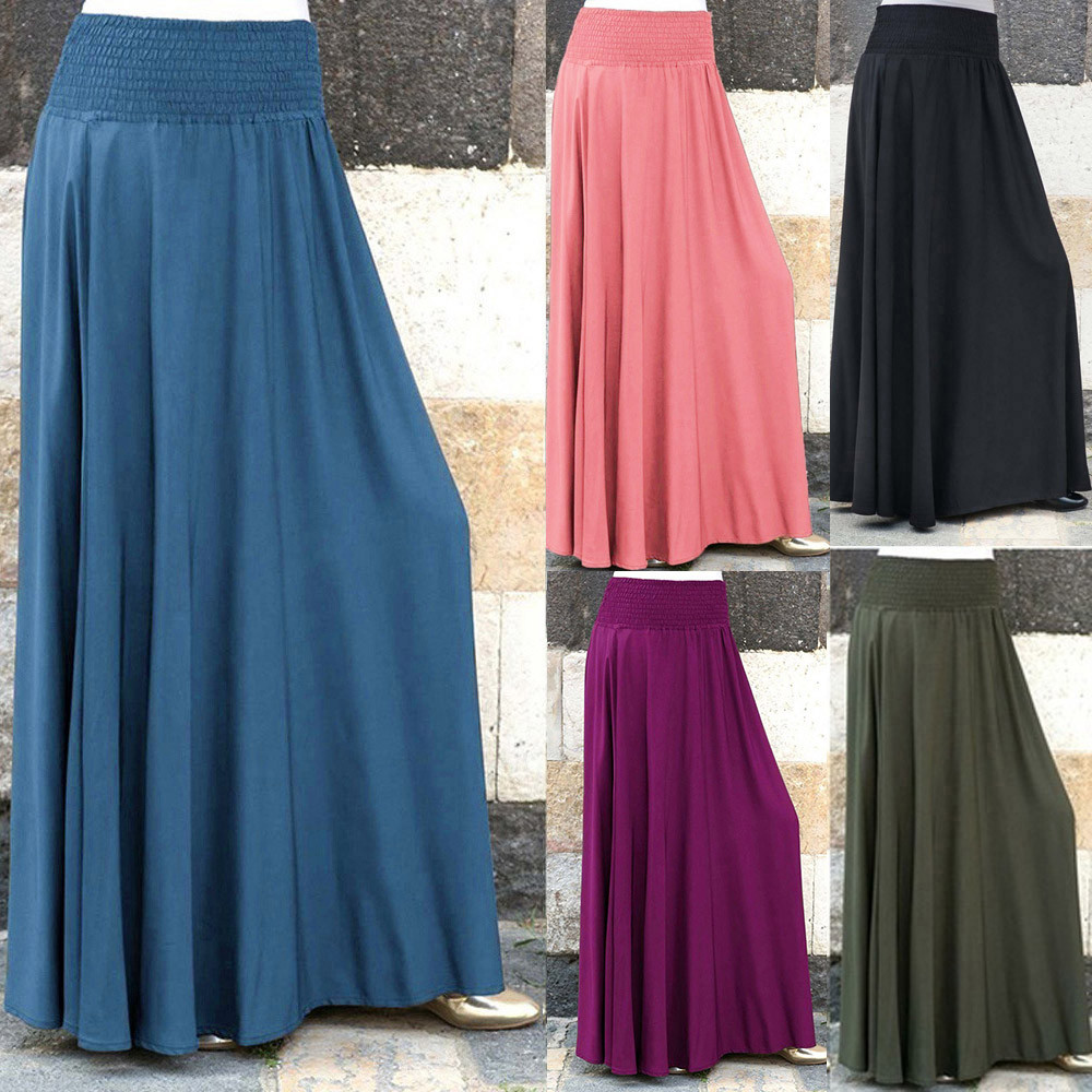 Solid Pleated Women Skirt Elastic Waist Ankle-Length Holiday Vocation Beach Vintage Long Skirt Loose Plus Size Long Skirts