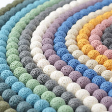 Oameusa 6mm 8mm 10mm 12mm Round Mixed Color Lava Volcanic Stone Loose Beads Agates Beads for Jewelry Making 1 Strand 15