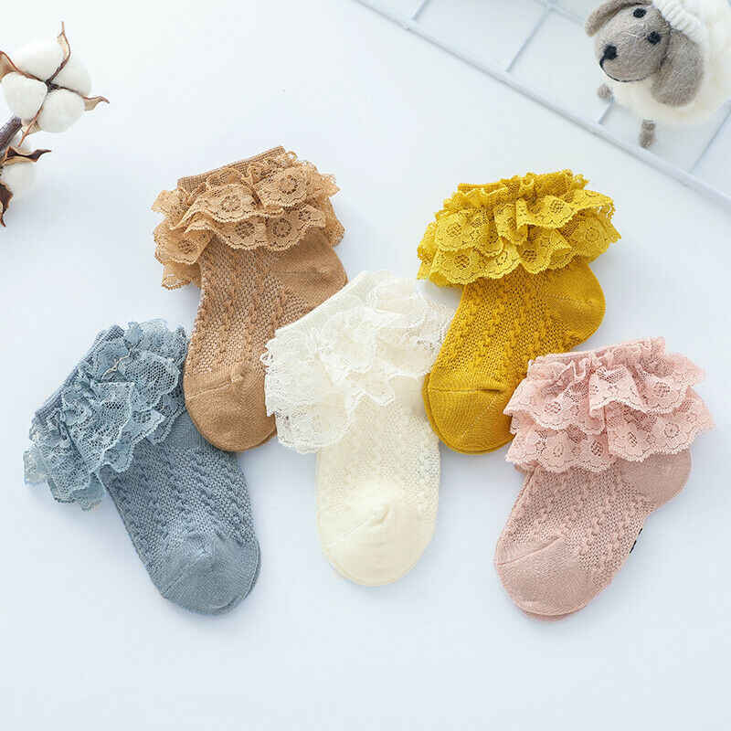 Newborn Kids Baby Girls Frilly Lace Bow Tutu Socks Infant Toddler Ankle Socks