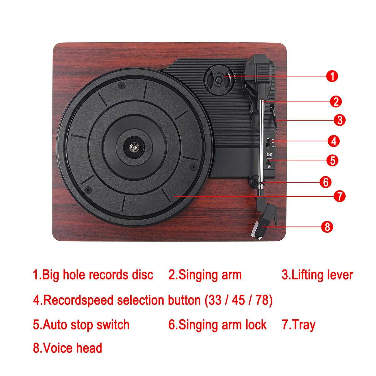 33, 45, 78 tr/min lecteur de disque LP bluetooth haut-parleurs intégrés Antique Gramophone platine vinyle Audio RCA - 2