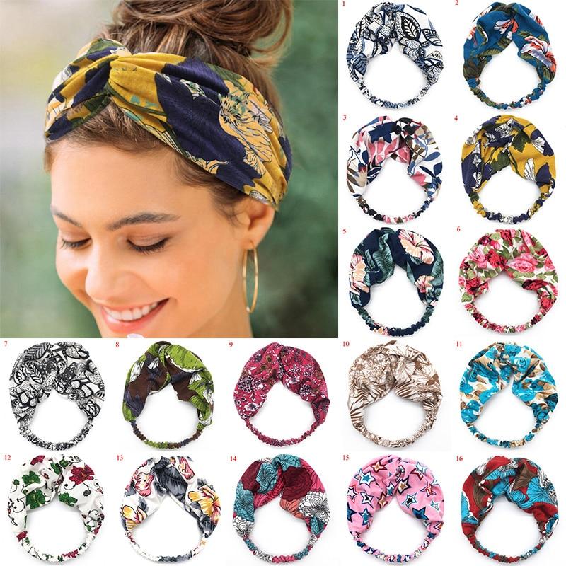 Women Cross Knotted Headband Bohemia Wide Stretch Hair Band For Girl Floral Print Turban Summer Elastic Turban Hair Accessories