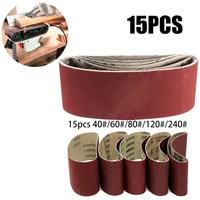 15PCS 75x457mm Sanding Belts Mixed Grits 60 80 100 120 240 Abrasive Sander Power Tool For Wood Soft Metal Grinding Polishing