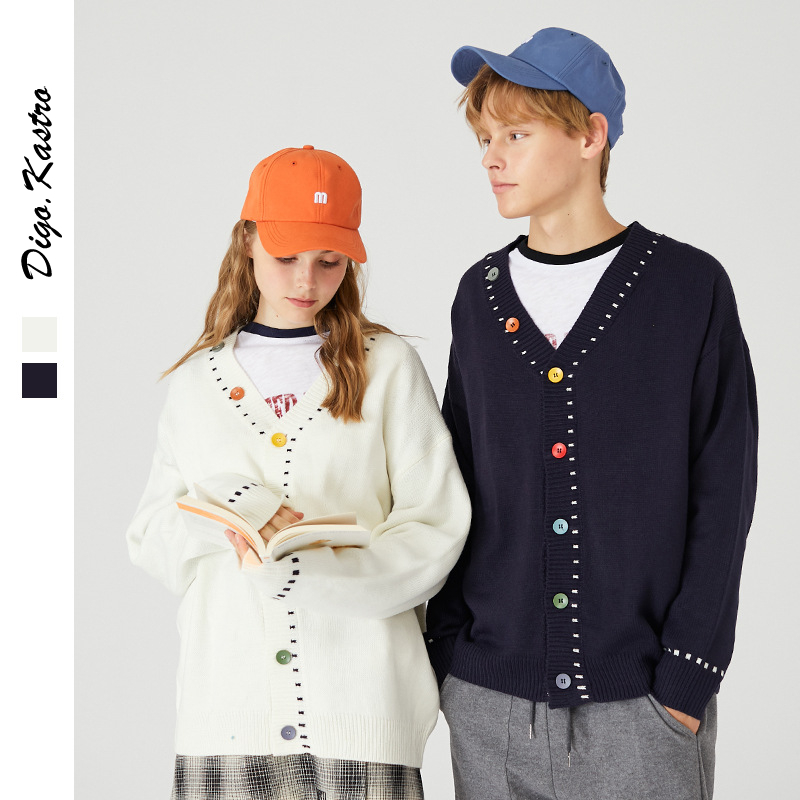 2019 Winter Original V-neck Sweater Men/Women Oversize Cardigan Loose Sweater INS Hot Campus Sweet Style Couple V-neck Sweater