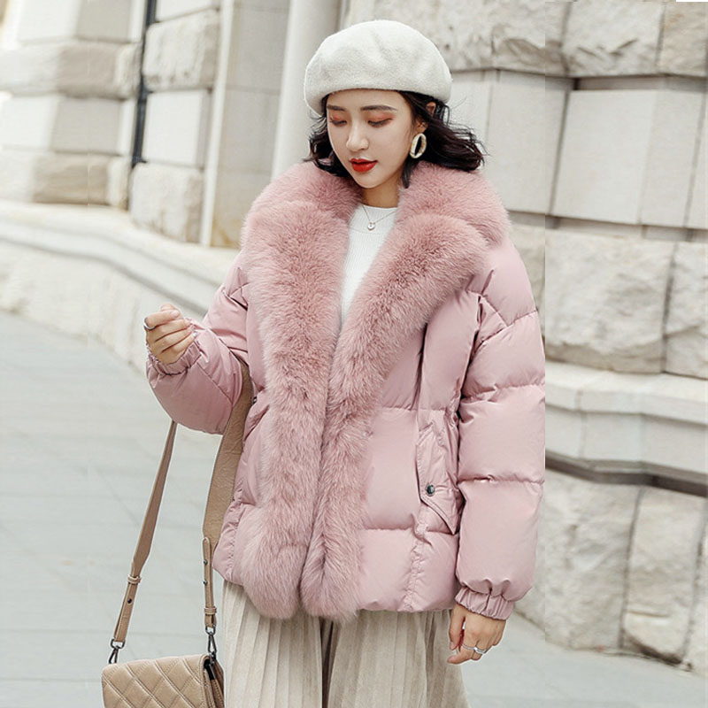 Luxury Natural Fox Fur Collar Women's Winter Down Jacket 2019 Thick Warm White Duck Down Jackets Female Coats Short Women Parka