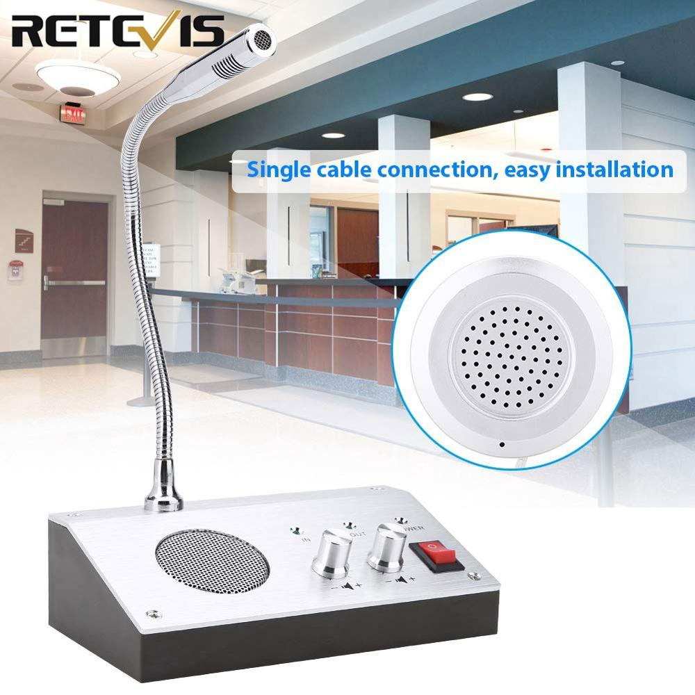 Retevis RT-9908 Dual-Way Counter Interphone Audio Record Anti-interference Window Intercom System For Bank Hospital Bus Station