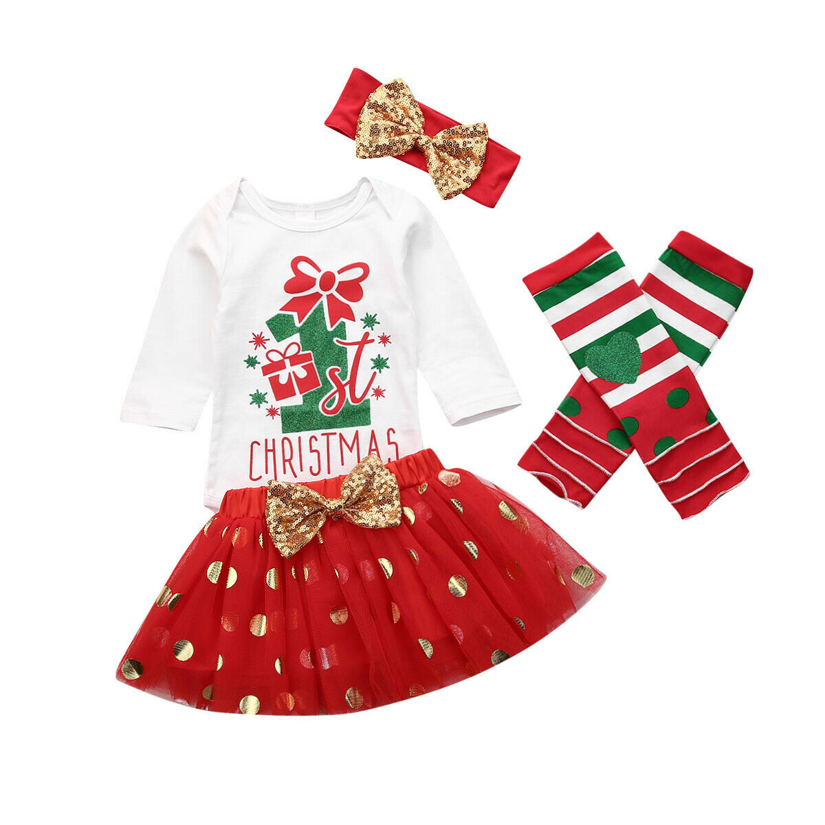 Cute Bowknot/Headband Skirt Set My First Christmas Baby Girl Clothes Red/Tutu Sequins Tulle Princess Dress