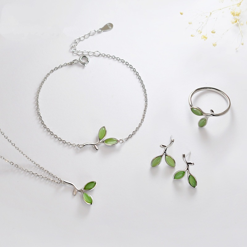 925 Sterling Silver Elegant Green Leaf Necklace Earrings Bracelet Ring For Women Jewelry Set Pendientes eh265