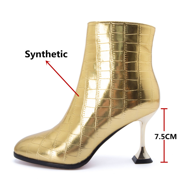 Image 3 - FEDONAS Fashion Women High Heels Ankle Boots Gold Silver Autumn Winter Party Wedding Prom Shoes Woman Sexy Pumps Female Boots-in Ankle Boots from Shoes