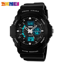 SKMEI Fashion Sports Watches Men Dual Display Wristwatches 50M Waterproof Chronograph Multifunctional Wristwatch 0955 skmei 50m waterproof three movement men s electronic watches black mirror silver