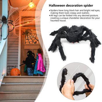 75/90/125cm Spider Tricky Toy Simulation Scary Black Plush Spider Halloween Party Bar Haunted Ornaments Decoration Props Kid toy halloween scary party scene spider decorative props joking birthday toys diy halloween simulation plush spider decorative
