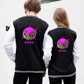 New Fashion Print Rainbow Shark Cartoon Baseball Jacket Coat Men Women Hoodie Sweatshirt Tops Long Sleeve Unisex Hoodies Jackets