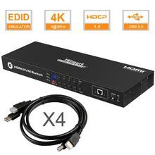 Tesla akıllı KVM USB HDMI Anahtarı 8 Port KVM HDMI Switcher KVM Anahtarı HDMI Desteği 3840*2160/4 K 2 Pcs Raf Kulaklar Standart 1U