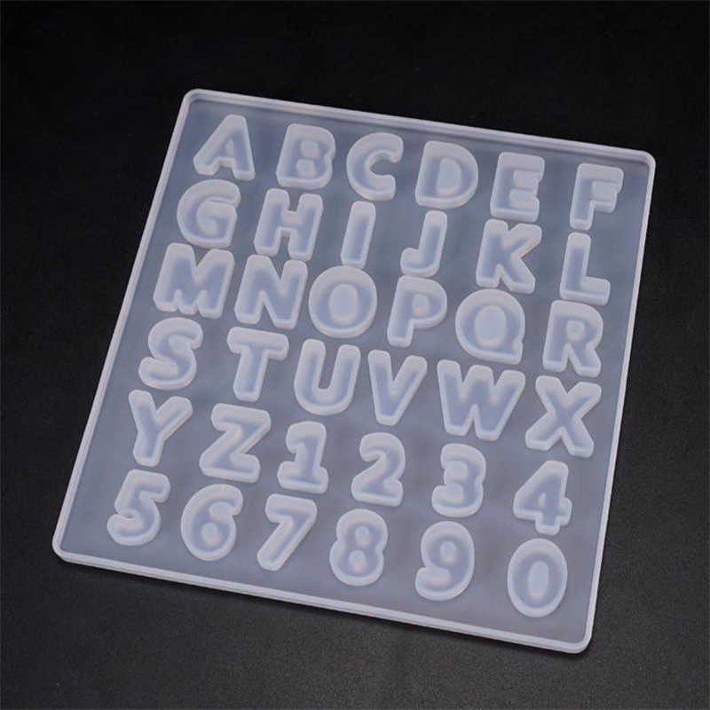 DIY Handmade Crystal Glue Epoxy Resin Mold Whole Board Digital Letter Jewelry Making Decoration Letter Silicone Mold For Resin