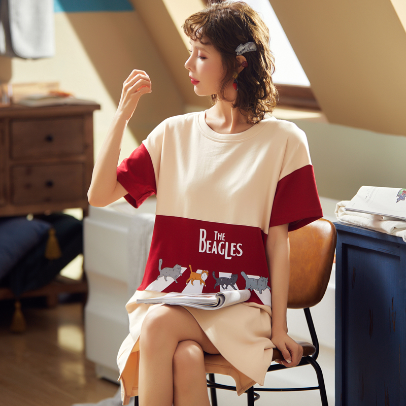 BZEL Fashion Women Night Skirt Spring Leisure Cotton Home Clothes Short Sleeve Nightgown Cartoon Ladies Sleepwear Pijamas Pyjama