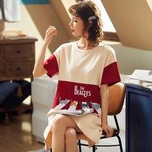 BZEL 패션 여성 나이트 스커트 봄 레저 코튼 홈 의류 짧은 소매 잠옷 만화 숙녀 잠옷 Pijamas Pyjama