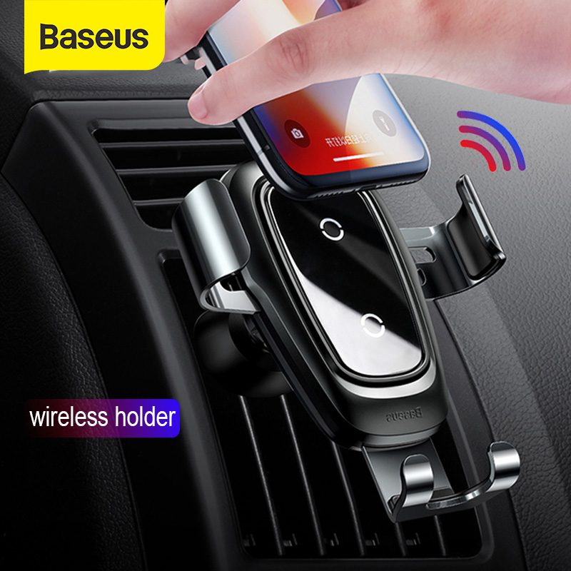 Baseus Car Phone Holder Qi Fast Wireless Charger for iPhone X Max 4 6.5 Inch Mobile Phone Stand Air Outlet Gravity Auto BracketUniversal Car Bracket   -