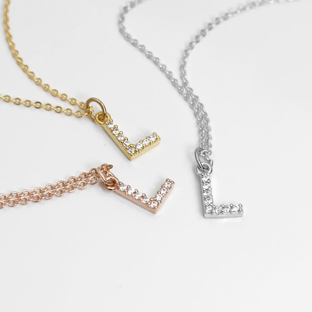 DODOAI Custom Diamond Necklace, Pave Crystal Letter Necklace,Personalized Name Necklace ,diamond letter pendant necklace Jewelry 4