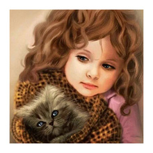 Full Square/Round Drill 5D DIY Diamond Painting Cross Stitch girl and cat 3D Diamond Embroidery Mosaic Rhinestone decor full square 5d diy diamond painting black cat moon book round drill 3d embroidery cross stitch mosaic rhinestone y3
