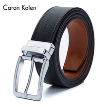 Buckle Belts For Men Formal Business Genuine Leather Belt With Double Side Black Dark Brown Yellow 3.5CM Revolvable Mens