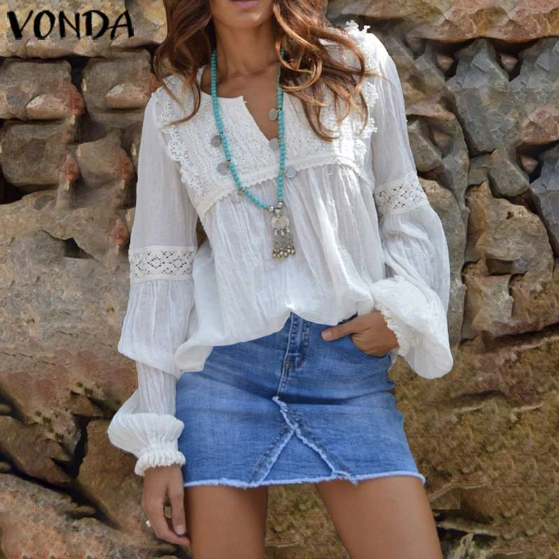 Office Ladies Blouse Women Casual Loose V Neck Lantern Sleeve Blouse Bohemian Hollow Lace Tops 2020 Spring Female Beach Shirts