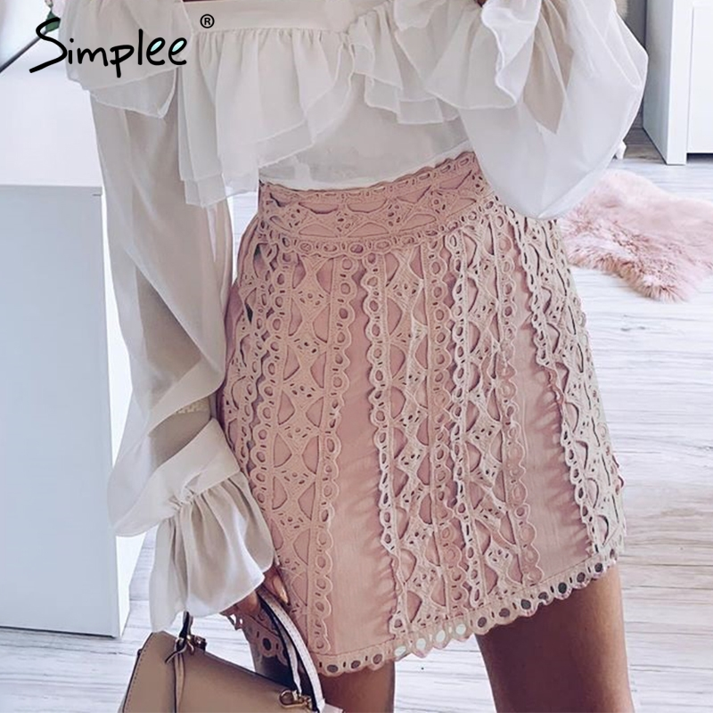 Simplee A-line Lace Embroidery Women Skirt Casual Streetwear Autumn Female Short Skirt Party Club Ladies Mini Pink Skirts