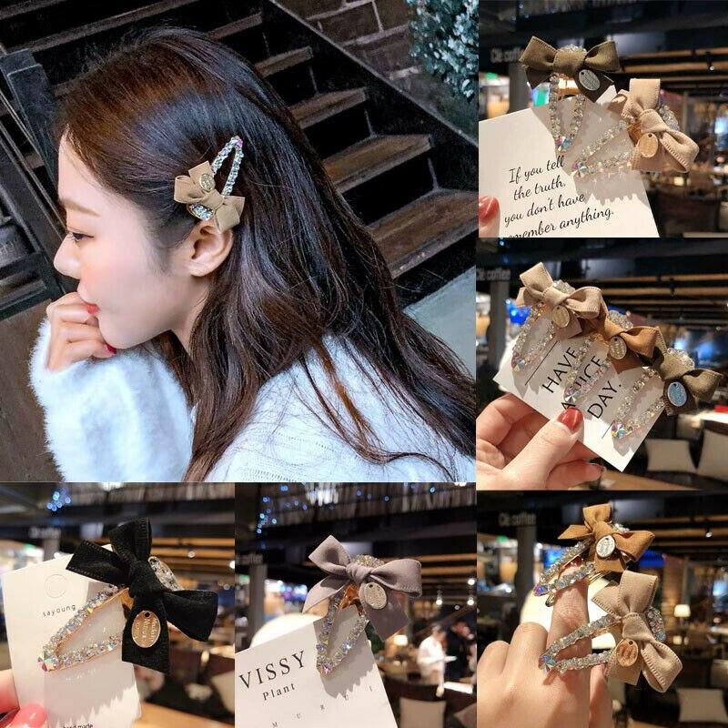 2019 Elegant Bow Metal Rhinestone Hair Clip Women Clips Barrettes Crystal Hairgrips Waterdrop Hairpins Hair Accessories Hairpins