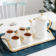 8Pcs Ceramic Tea Set Light Luxury Coffee Cup Afternoon Household Water Glass Cold Bottle With Tray Cups And Mugs