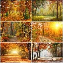 Осенний фон с изображением золотого кленового листа для фотосъемки