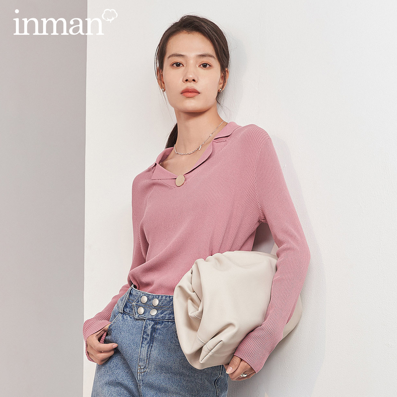 INMAN 2020 Spring New Arrival Literary Lapel Temperament Metal Buckle Loose Long Sleeve Sweater