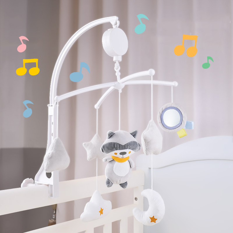 Baby Toys 0-12 Months Mobile Rattles Music Box Set Carousel Baby Crib Holder Rattles Bracket Clockwork Rattles Plush Toys