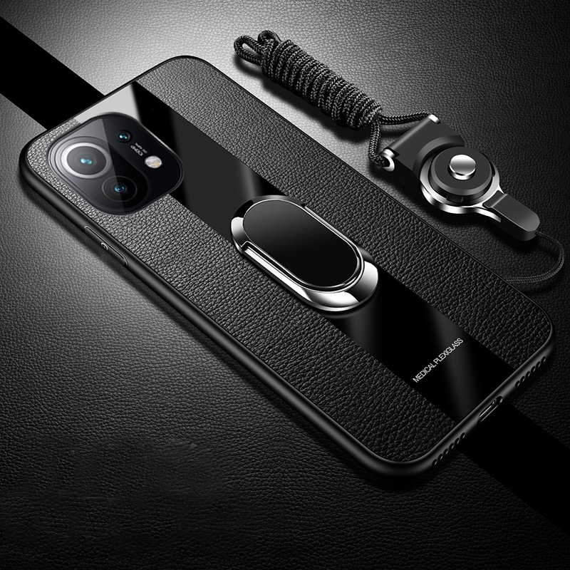 For Xiaomi Mi 11 Case Luxury Soft Silicone Plexiglass With Ring Stand Magnet protective Back Cover Case for xiaomi mi 11 Shell