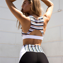 Striped Patchwork Back Hollow Yoga Sets Women Gym Clothes Vest Stretchy Tights Pants Sport Suit Training Workout Clothing