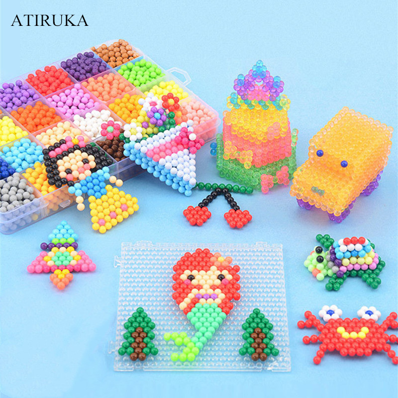 200-1000PCS 3D Puzzle Toy For Children Educational Spray Beads Juguetes Solid Crystal Diamond Perler Beads Jigsaw Puzzle Toys