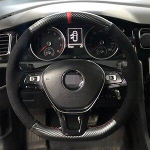 Zwart Suede Auto Stuurhoes Koolstofvezel Voor Volkswagen Vw Golf 7 Mk7 Nieuwe Polo Jetta Passat B8 Tiguan sharan Touran Up