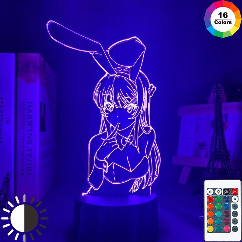 Аниме Waifu Mai Sakurajima светодиодный ночник для спальни Декор Mai светильник подарок для друга Sakurajima Bunny Girl Светодиодная лампа Аниме подарок
