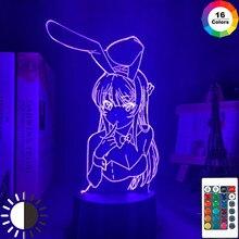 Anime waifu mai sakurajima led night light para decoração do quarto mai luz presente para o amigo sakurajima coelho menina lâmpada led anime presente