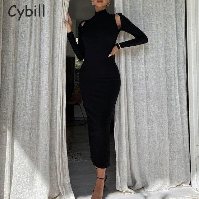Cybill Long Sleeve Backless Midi Dress Black Hollow Out Turtleneck Bodycon Dress White Club Sexy Party Dresses Blue Women
