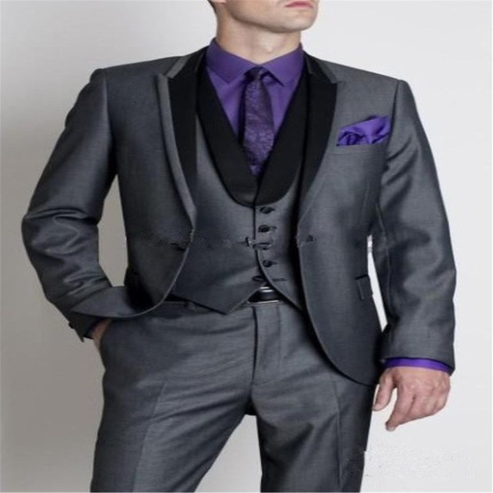 New Classic Men's Suit Smolking Noivo Terno Slim Fit Easculino Evening Suits For Men Silver Gray / Black Groom  Business Wedding